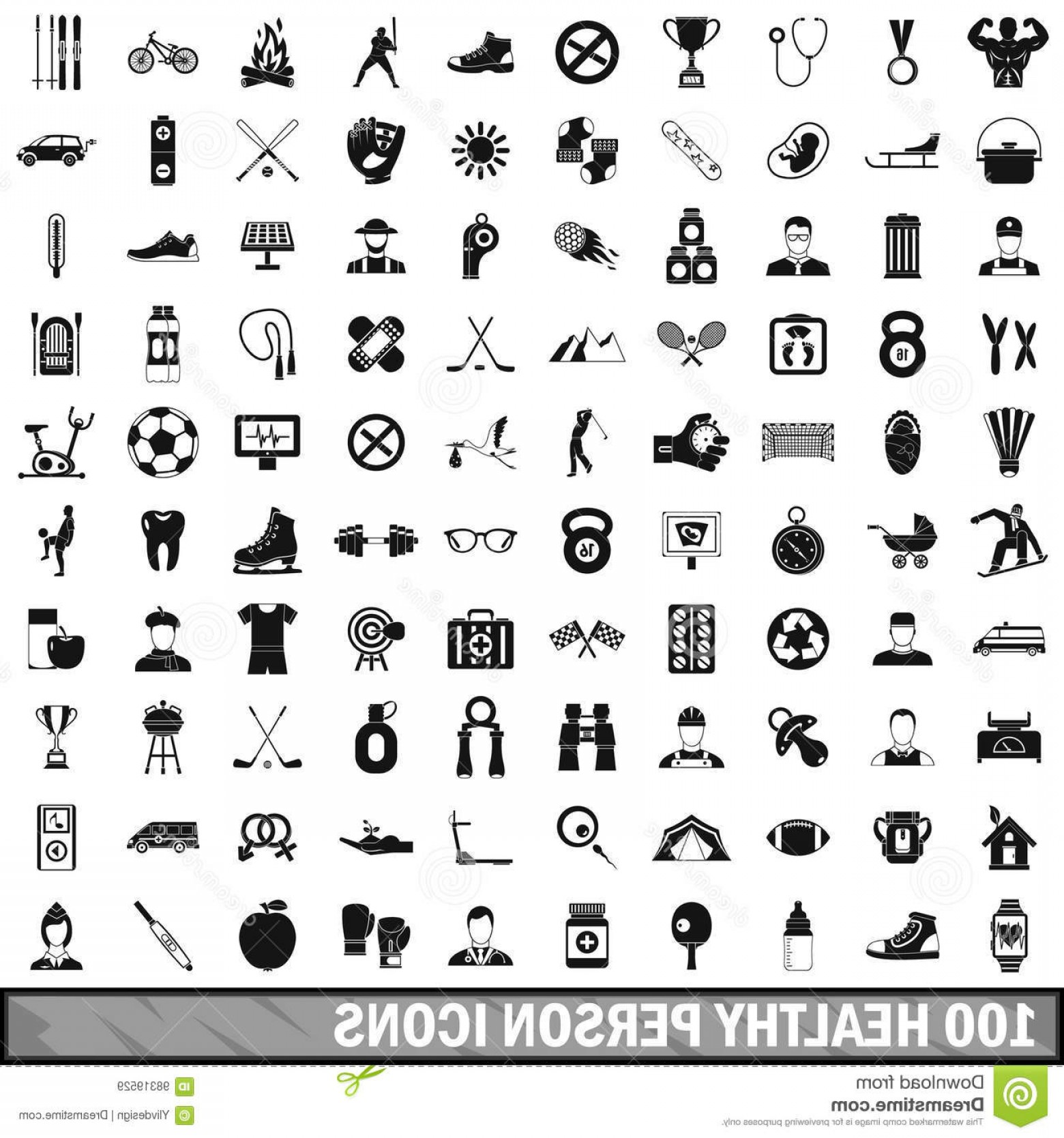 Vector Golf Simulator: Stock Illustration Healthy Person Icons Set Simple Style Any Design Vector Illustration Image