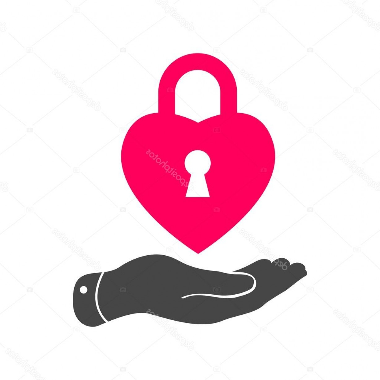 Heart Lock Vector: Stock Illustration Heart Lock Shape Icon