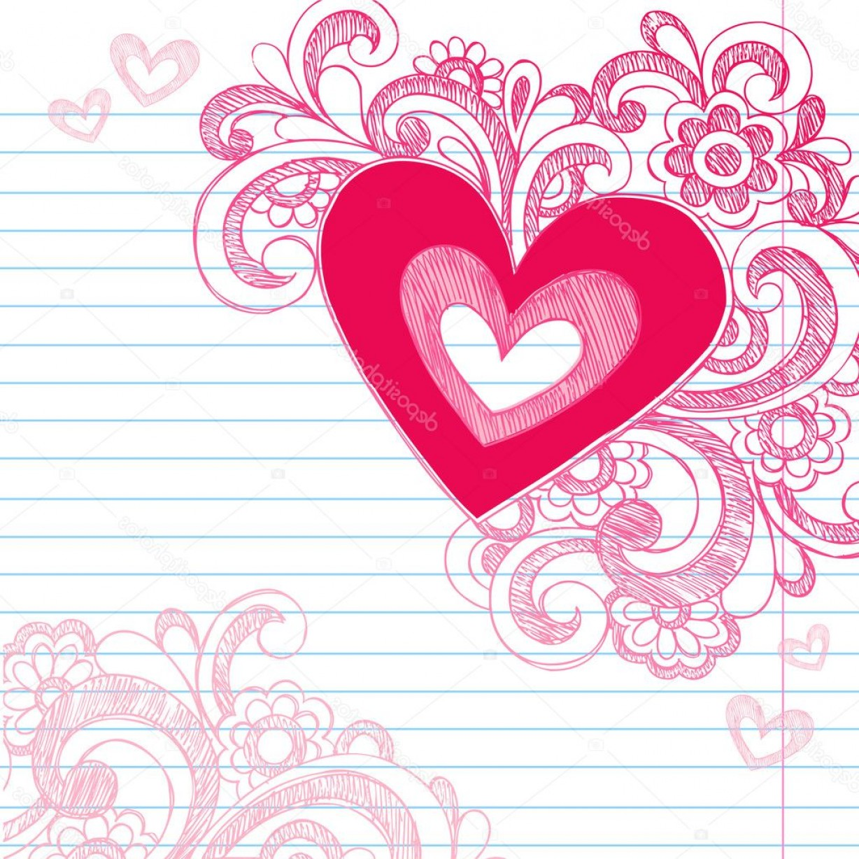 Love Heart Swirl Vector: Stock Illustration Heart Love Sketchy Doodle Swirls