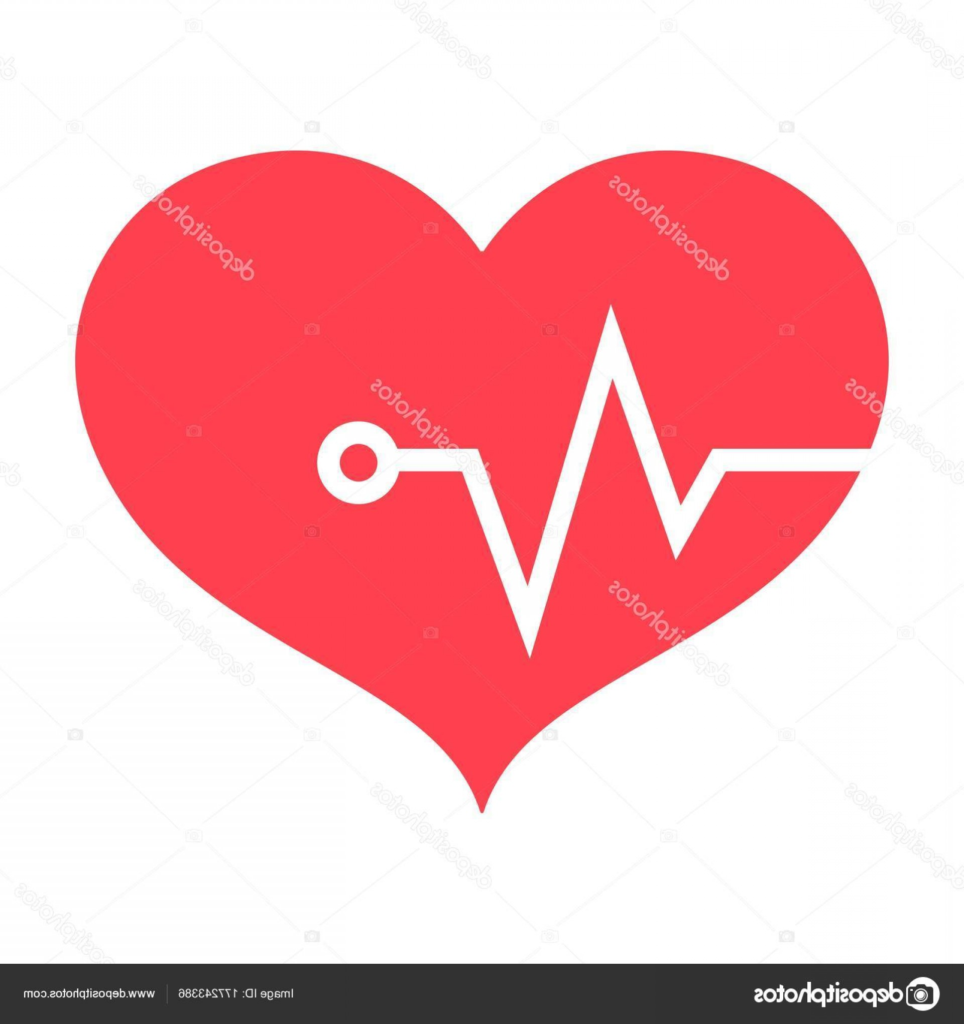 Solid Heart Vector Drawing: Stock Illustration Heart Pulse Flat Icon Fitness