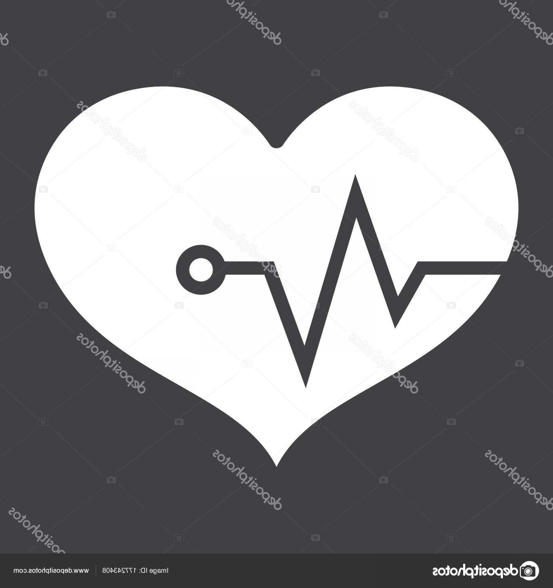 Solid Heart Vector Drawing: Stock Illustration Heart Pulse Glyph Icon Fitness