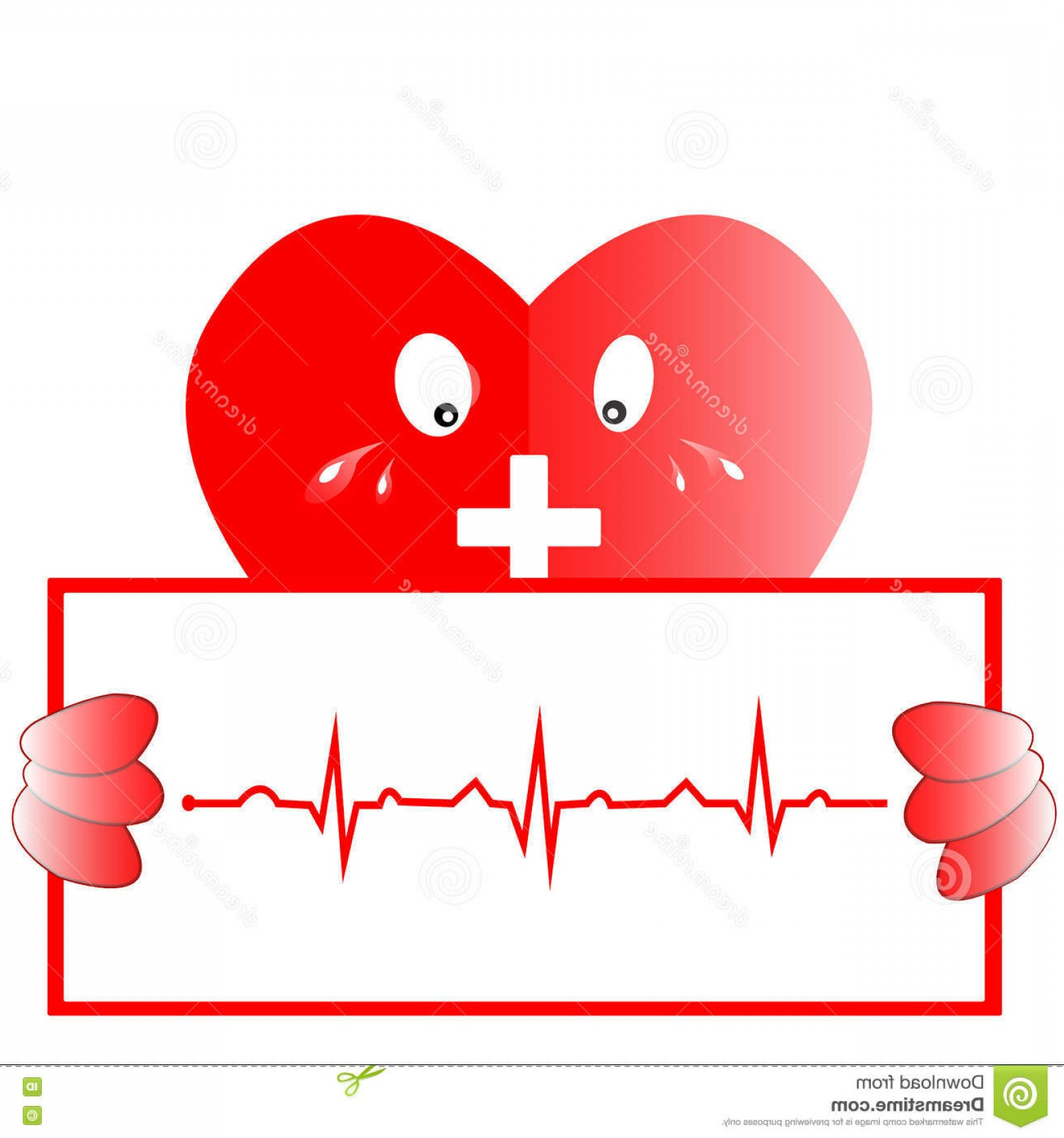 Heart With EKG Line Vector: Stock Illustration Heart Rhythm Ekg Heart Icon Ekg Line Vector Design Image