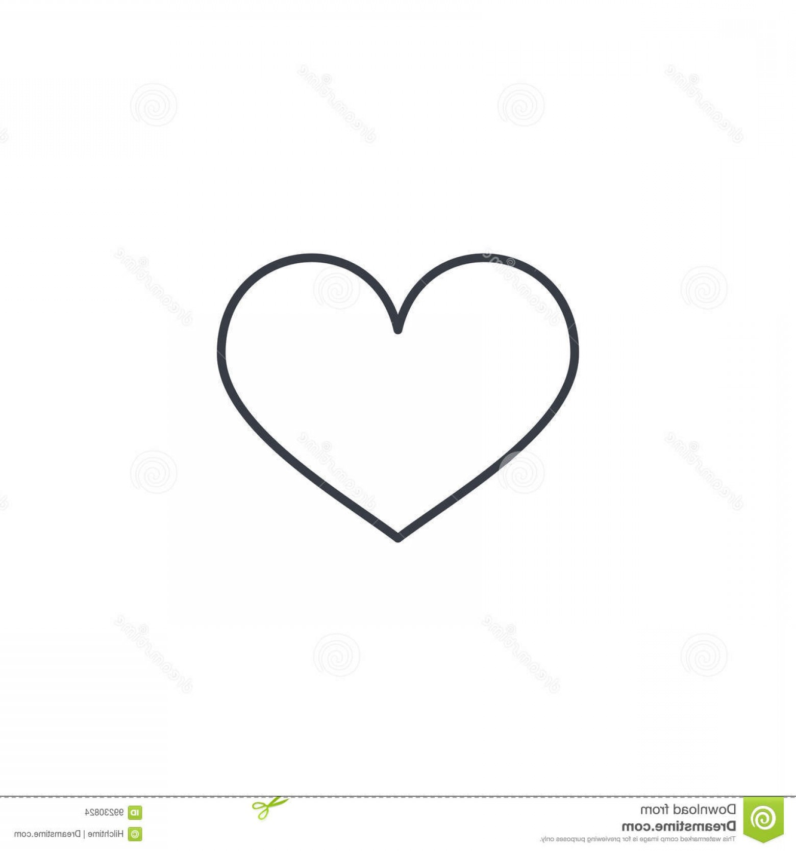 Solid Heart Vector Drawing: Stock Illustration Heart Shape Thin Line Icon Linear Vector Illustration Pictogram Isolated White Background Symbol Image