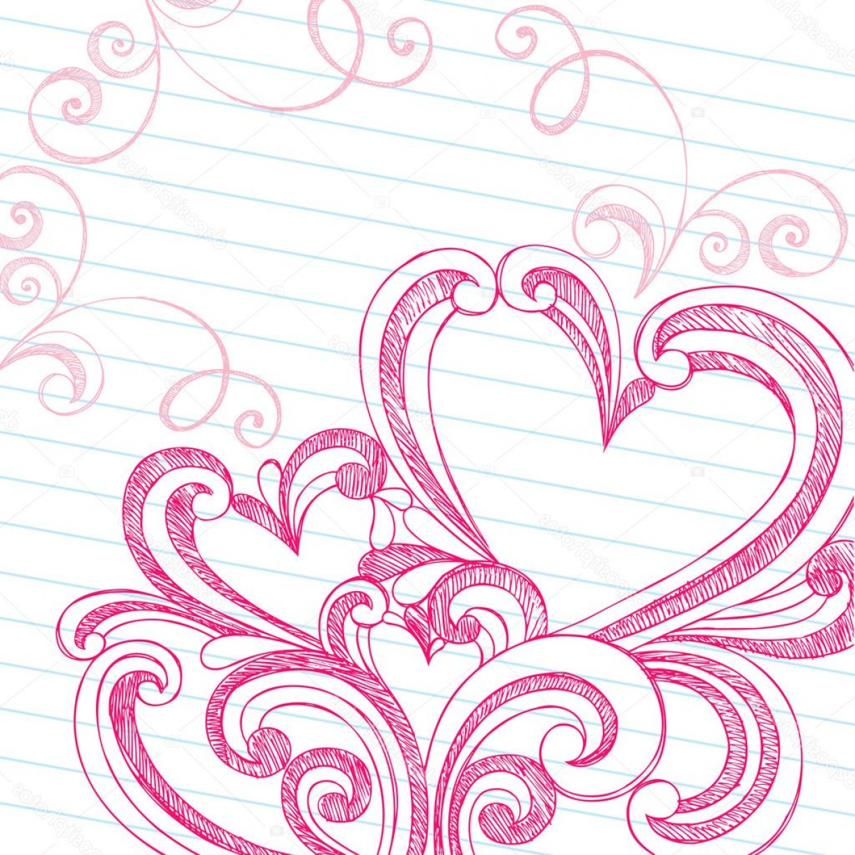 Love Heart Swirl Vector: Stock Illustration Heart Shaped Sketchy Doodle Swirls