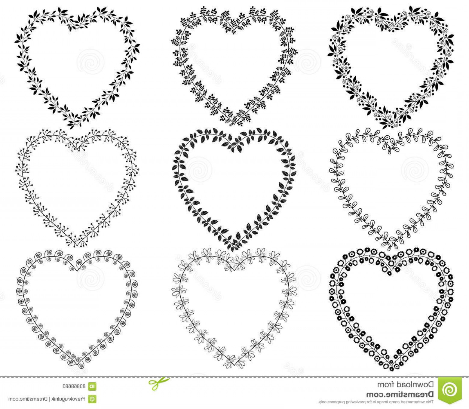 Rustic Heart Vectors: Stock Illustration Heart Shaped Wreath Borders Vector Set Floral Valentine S Day Invitations Other Designs Black Color Copy Space Image
