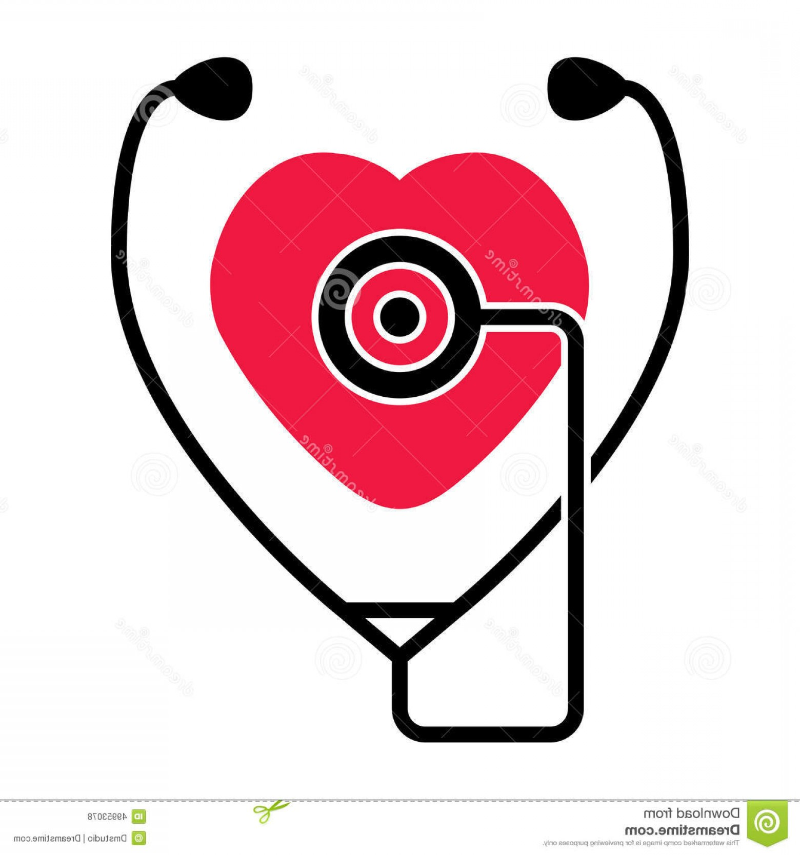 Stethoscope With Heart Vector Art: Stock Illustration Heart Stethoscope Symbol Medical Check Health Heartbeat Image
