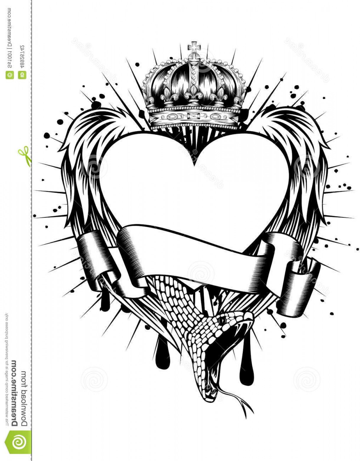 Snake Crown Vector: Stock Illustration Heart Wings Corona Abstract Vector Illustration Frame Snake Crown Image
