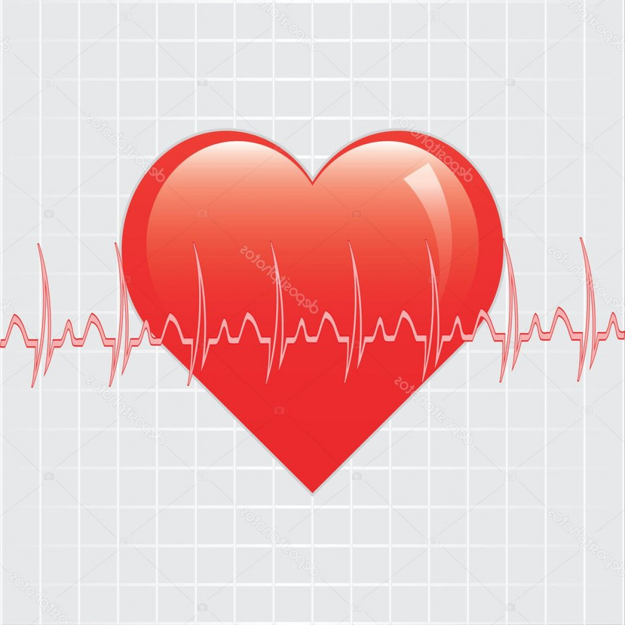 Heart With EKG Line Vector: Stock Illustration Heart With Ekg On Texture
