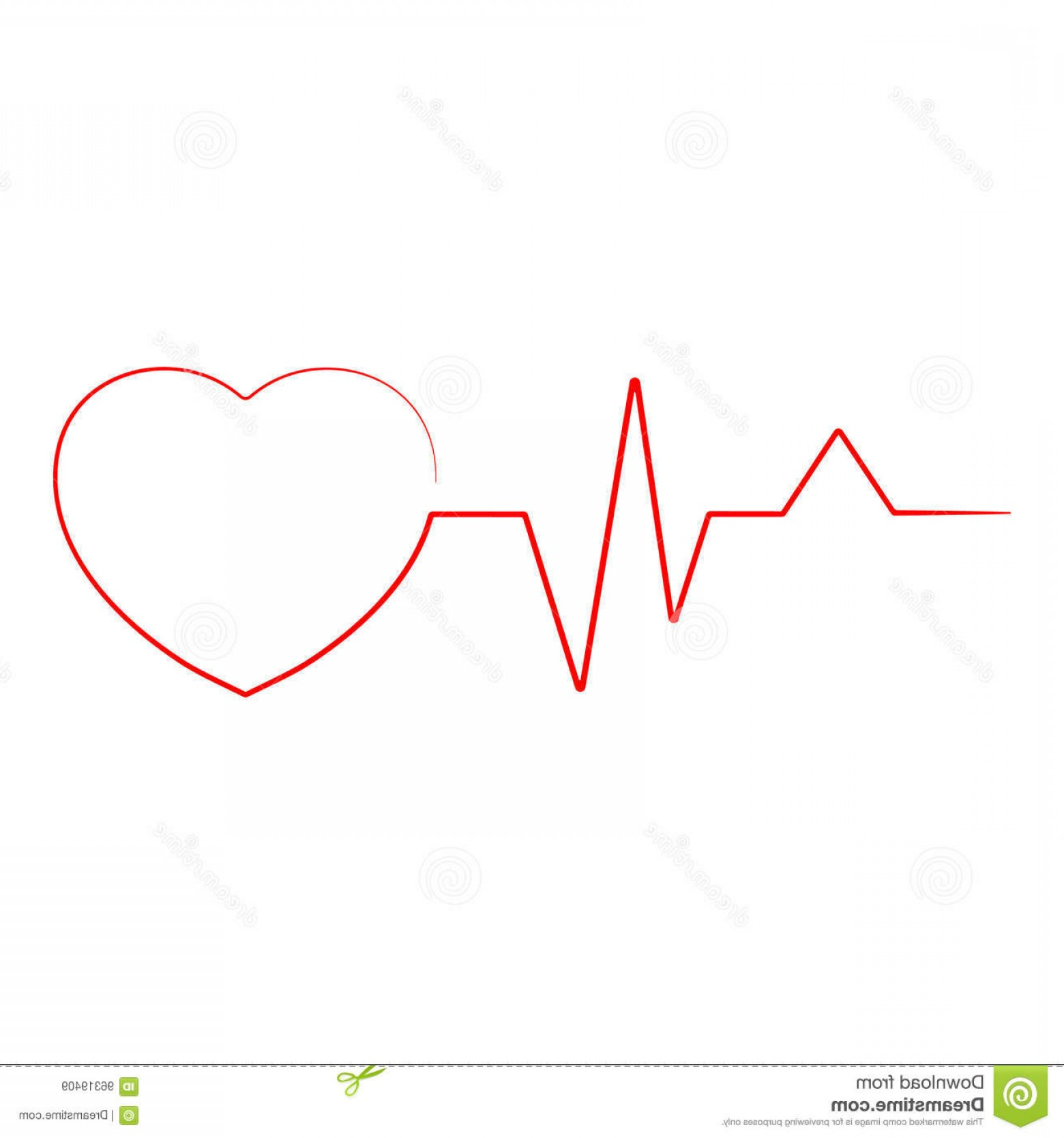 Heart With EKG Line Vector: Stock Illustration Heartbeat Line Heart Cardio Ekg Isolated Background Realistic Vector Illustration Healthcare Image