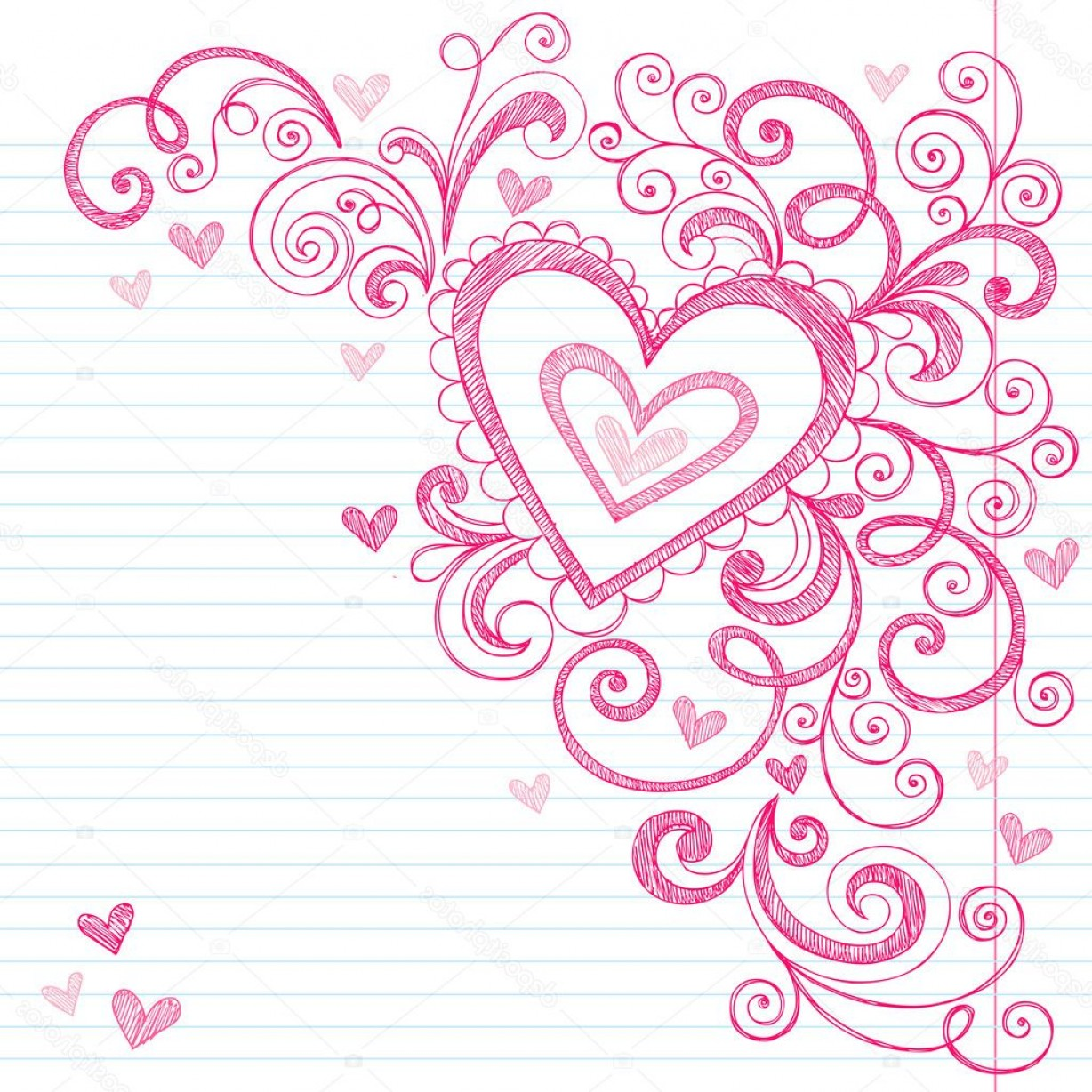 Love Heart Swirl Vector: Stock Illustration Hearts Sketchy Doodle Swirls Vector