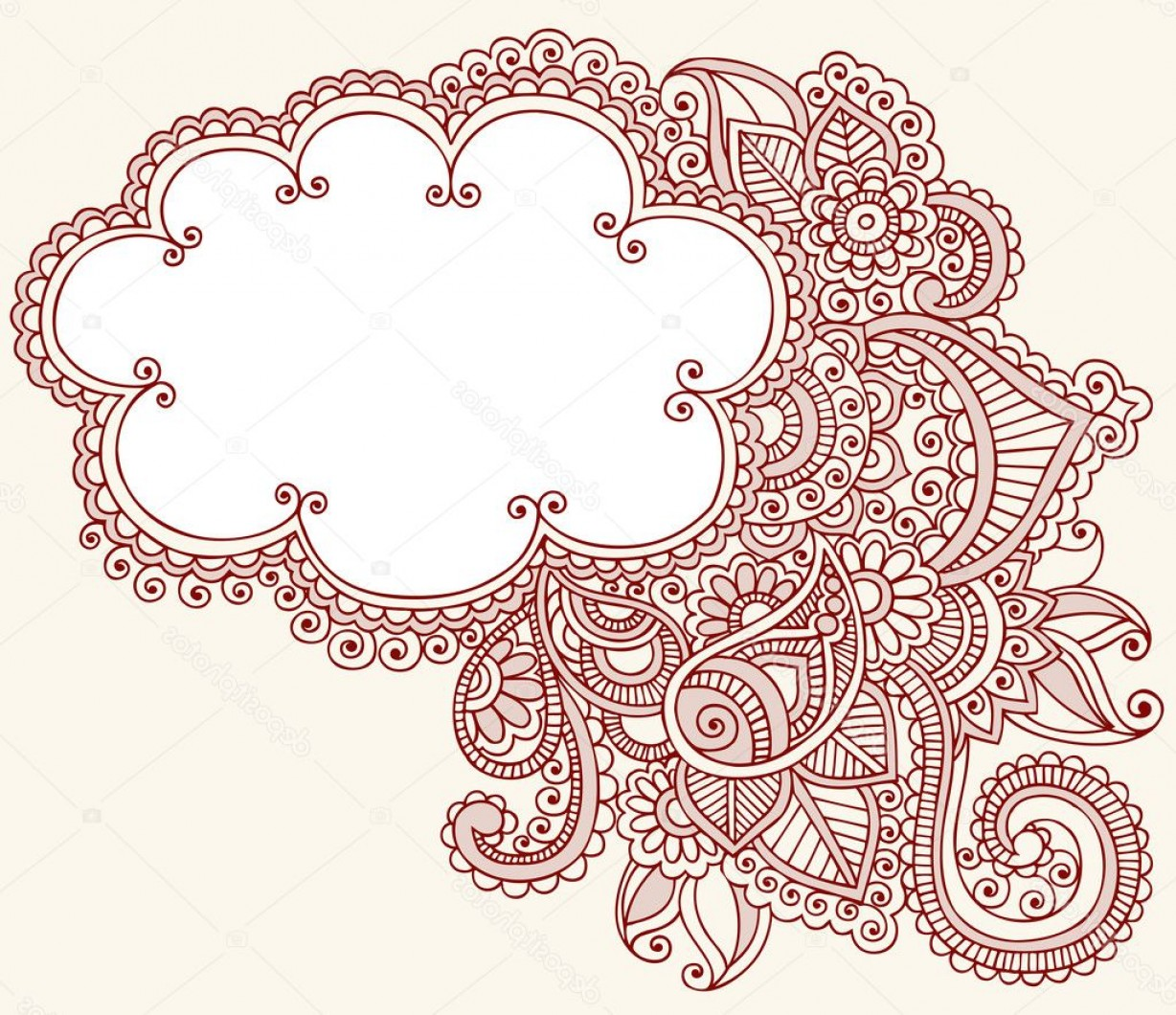 Simple Paisley Vector Border: Stock Illustration Henna Paisley Flower Doodle Cloud