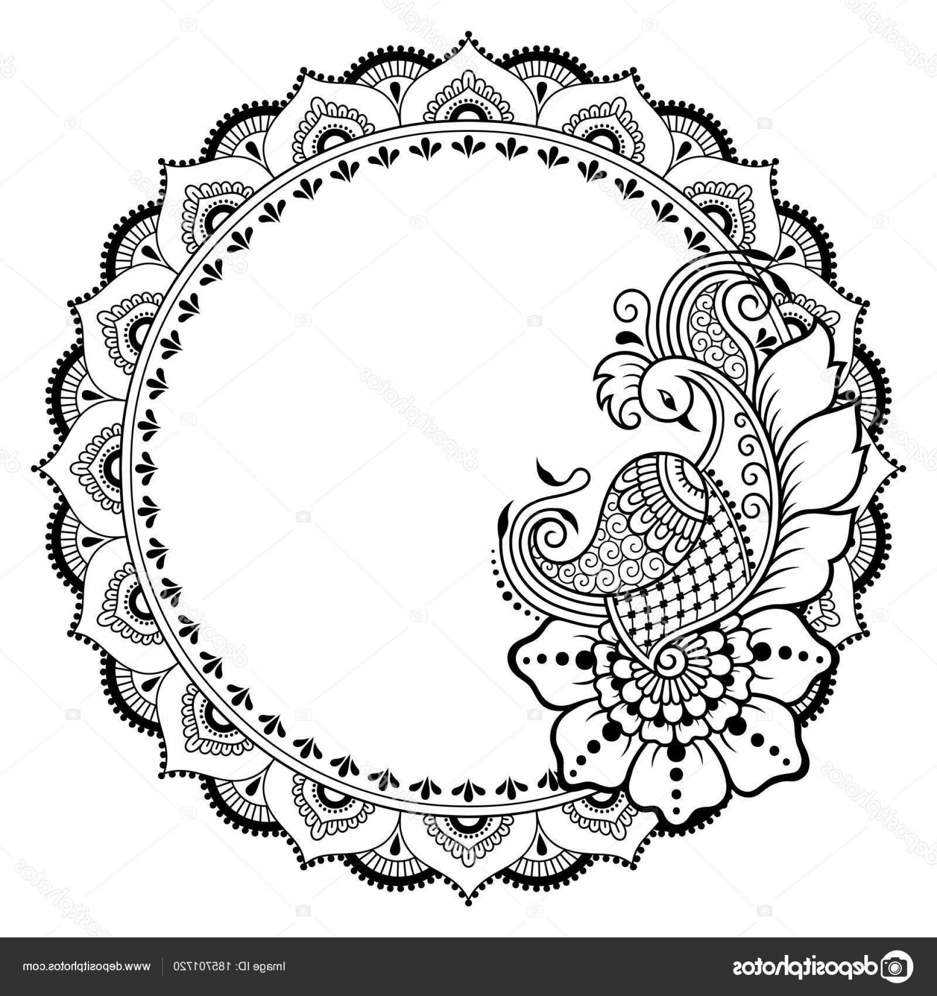 Tattoo Templates Vector Frames: Stock Illustration Henna Tattoo Flower Template Patterned