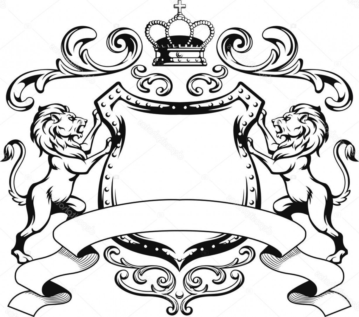 Crest And Coat Of Arms Vector Silhouette: Stock Illustration Heraldic Lion Shield Crest Silhouette