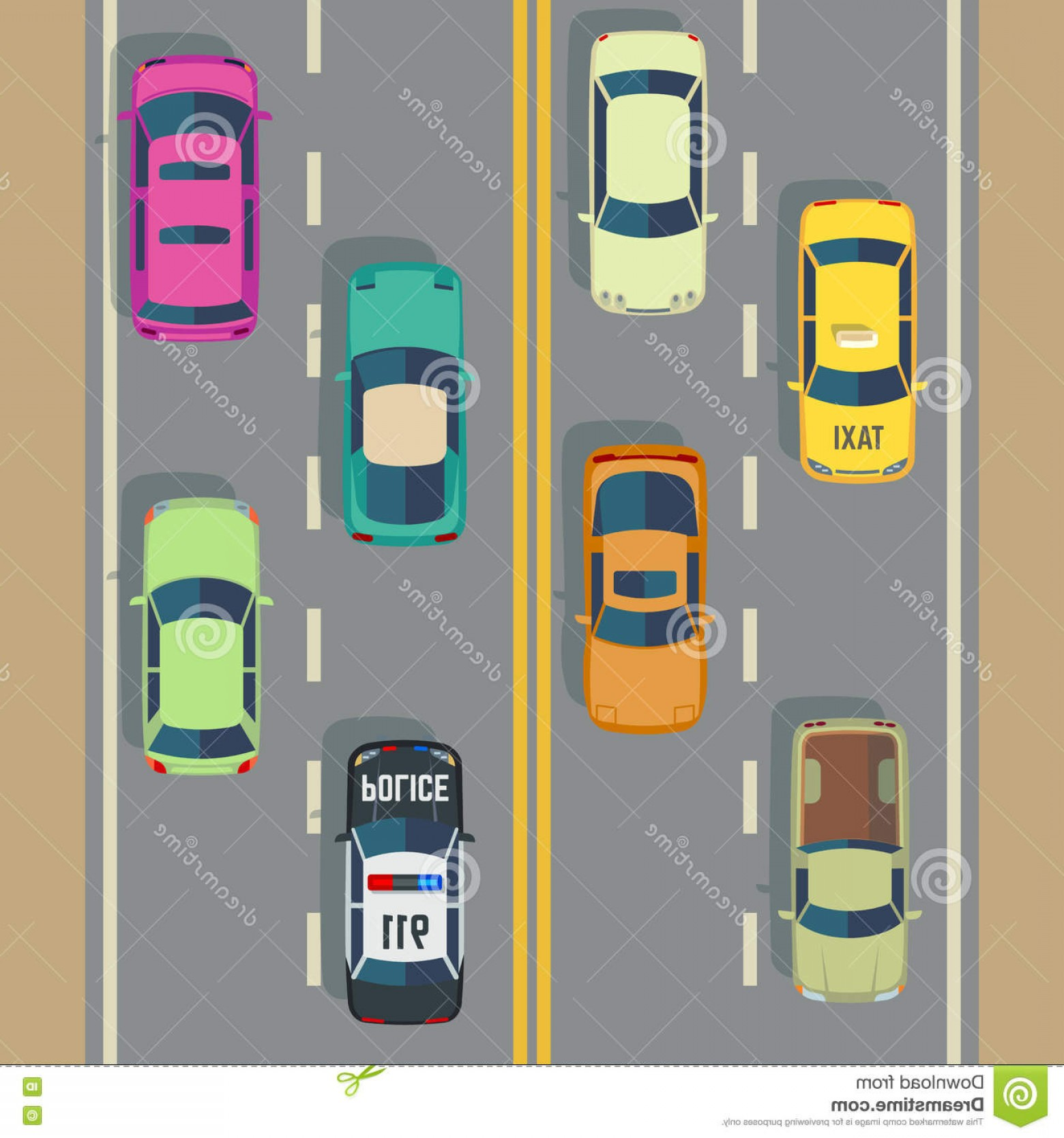 Vector Images Of Cars On Streets: Stock Illustration Highway Traffic Top View Cars Trucks Street Vector Police Car Taxi Illustration To Road Image