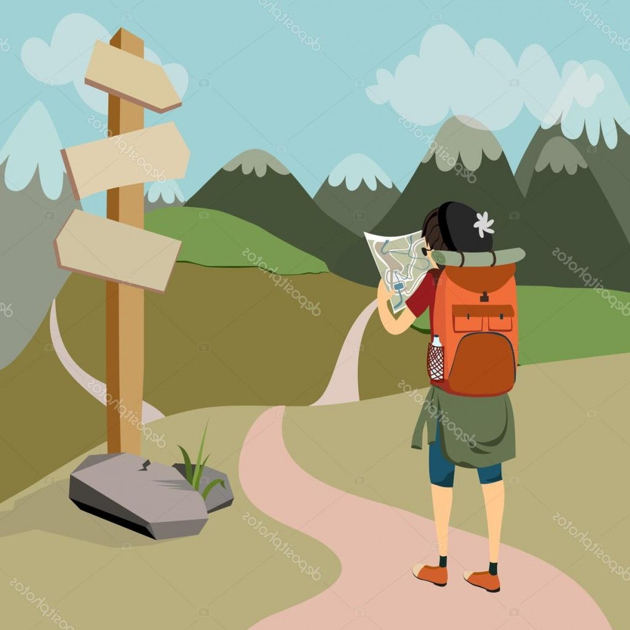 Mountain Trail Vector: Stock Illustration Hiker With Backpack On Mountain