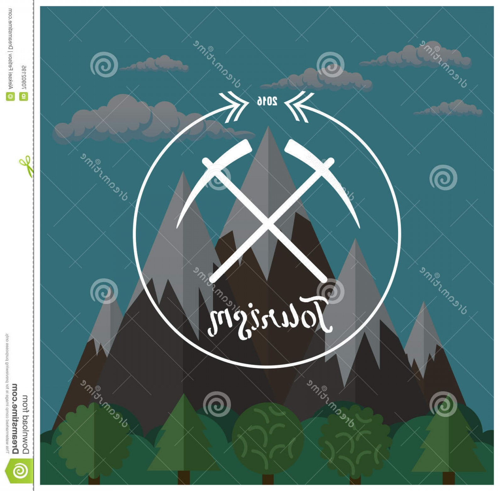 Hipster Logo Vectors Mountain: Stock Illustration Hipster Logo Summer Camp Concept Mountain Nature Landscape Vector Image