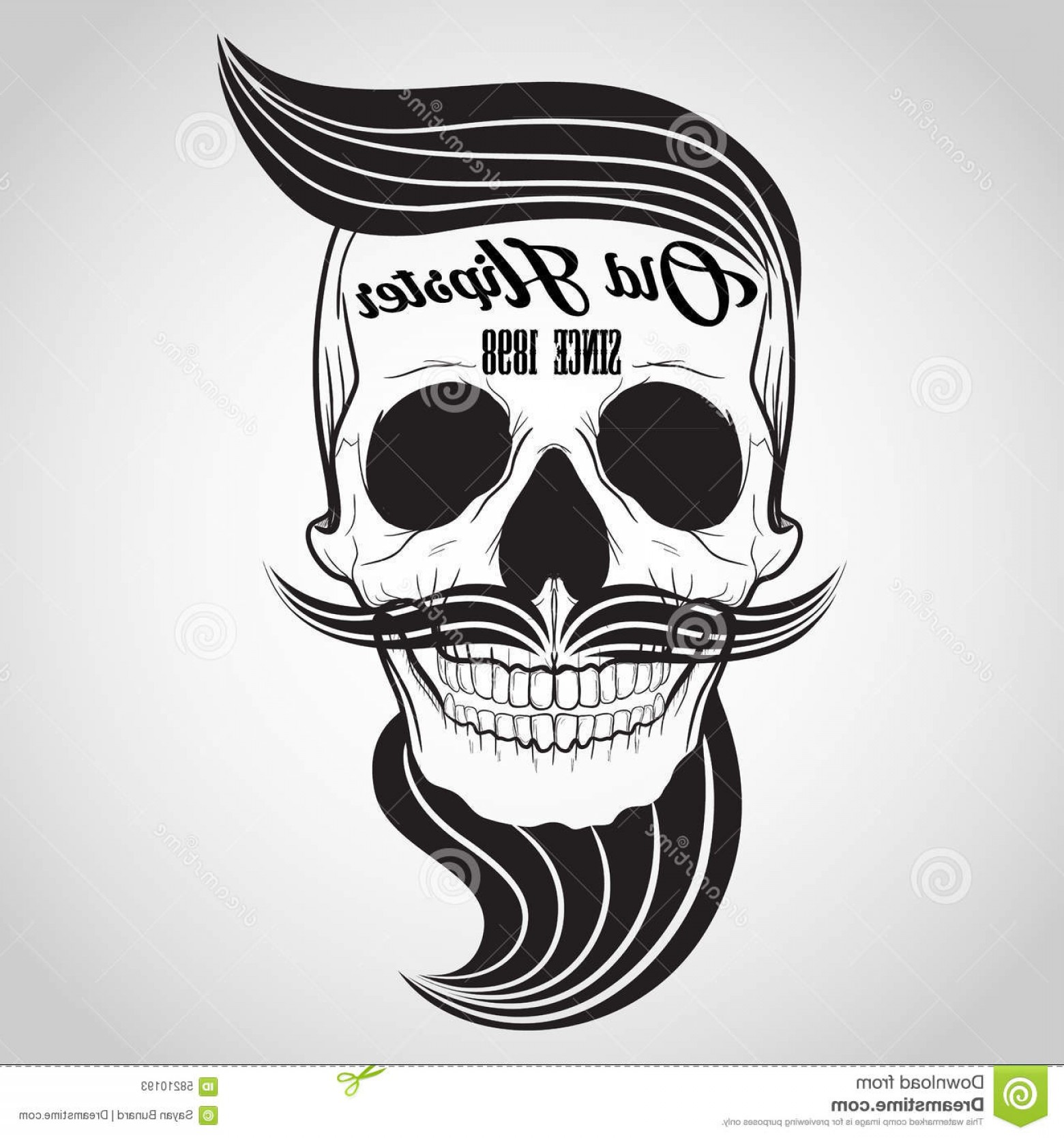 His And Hers Skulls Vector: Stock Illustration Hipster Skull Logo Vector Banner Symbol Image