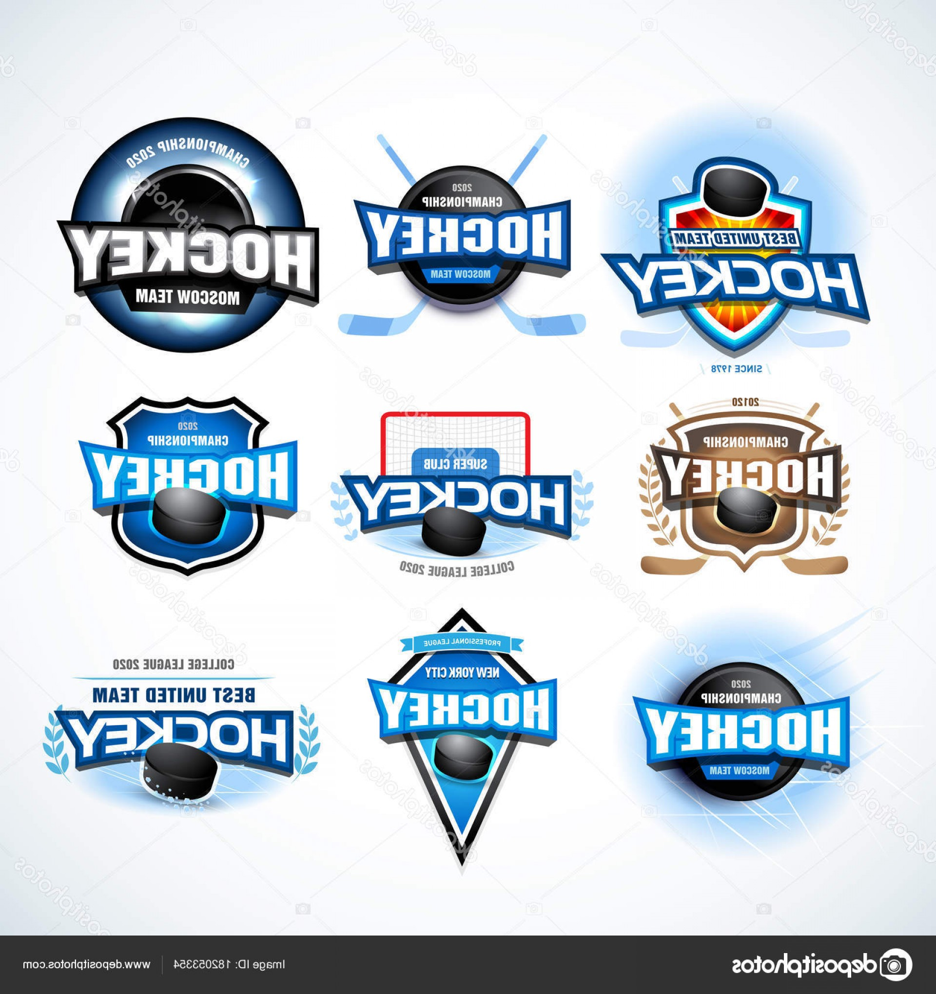Hockey Teams Logo Vectors: Stock Illustration Hockey Sport Team Logotype Templates