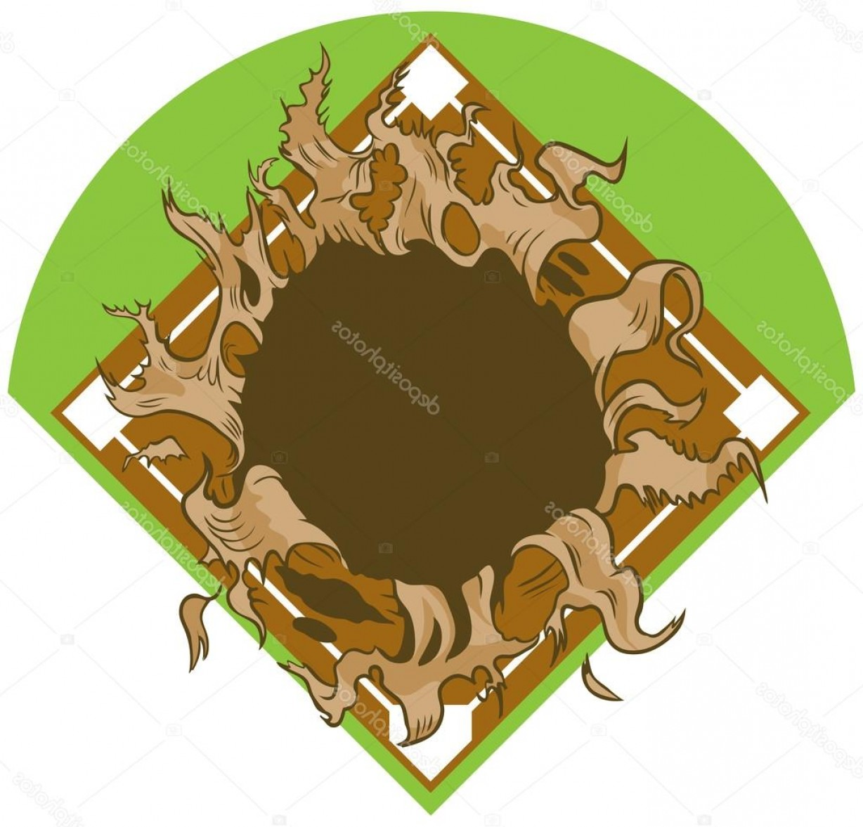 Baseball Tails Vector Clip Arts: Stock Illustration Hole Ripping Out Of Baseball