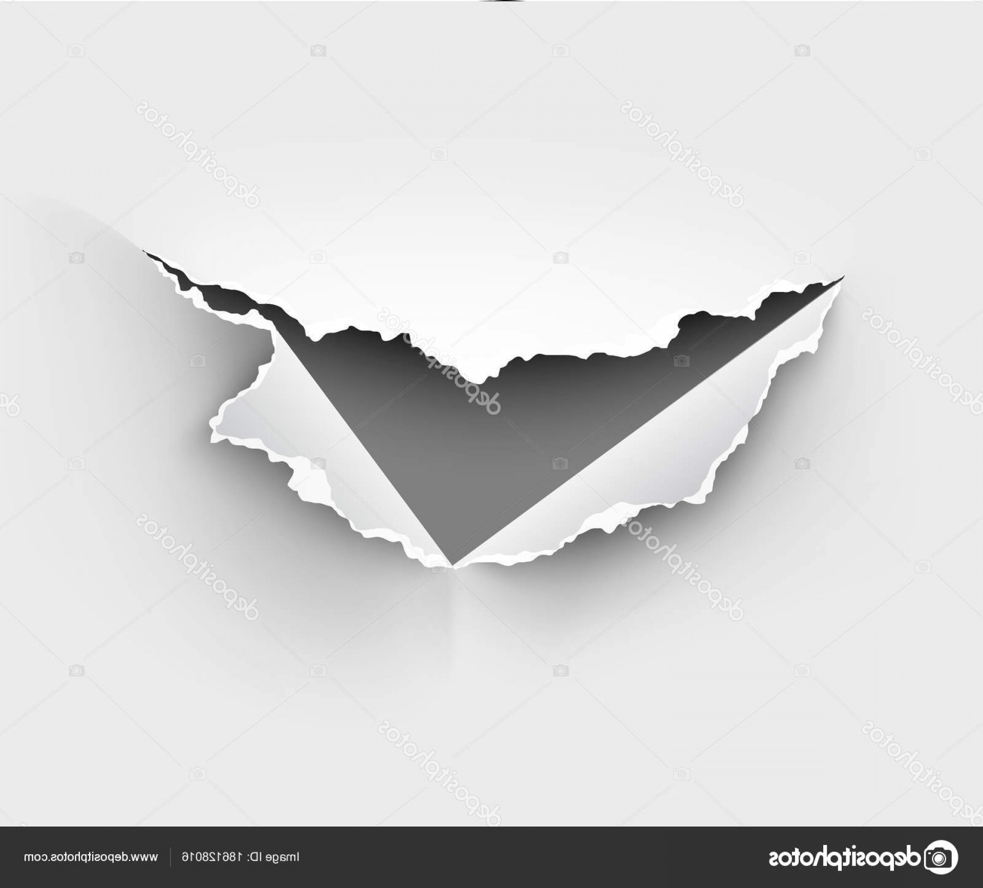Ripped Black And White Vector: Stock Illustration Hole Torn Ripped Paper White