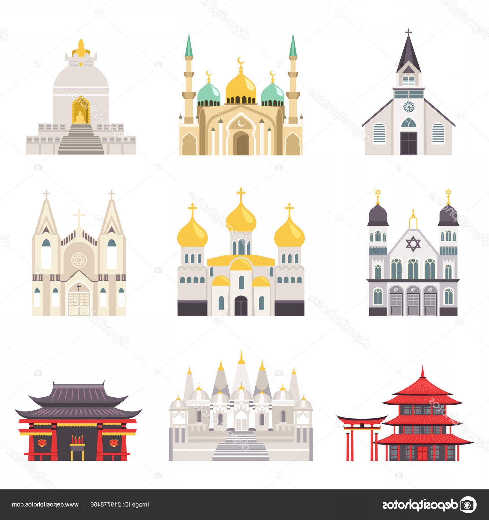 Vector Holy Shrine: Stock Illustration Holy Religious Buildings From All