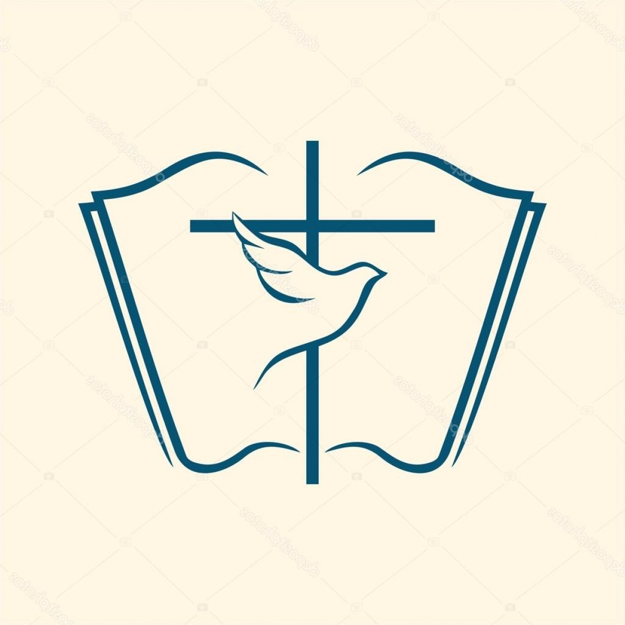 Holy Bible Vector: Stock Illustration Holy Spirit Cross Dove Bible