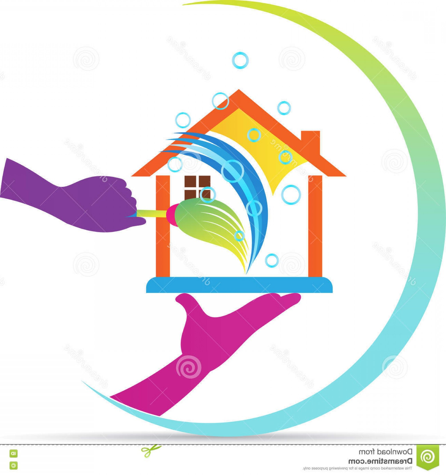 Cleaning Logo Vector Art: Stock Illustration Home Cleaning Service Logo Vector Drawing Represents Design Image