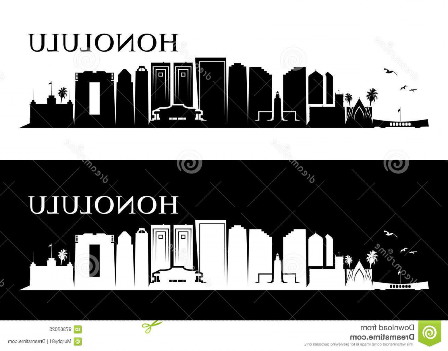 City Of Honolulu At Night Vector: Stock Illustration Honolulu Skyline Hawaii Vector Illustration Usa Wallpaper Image