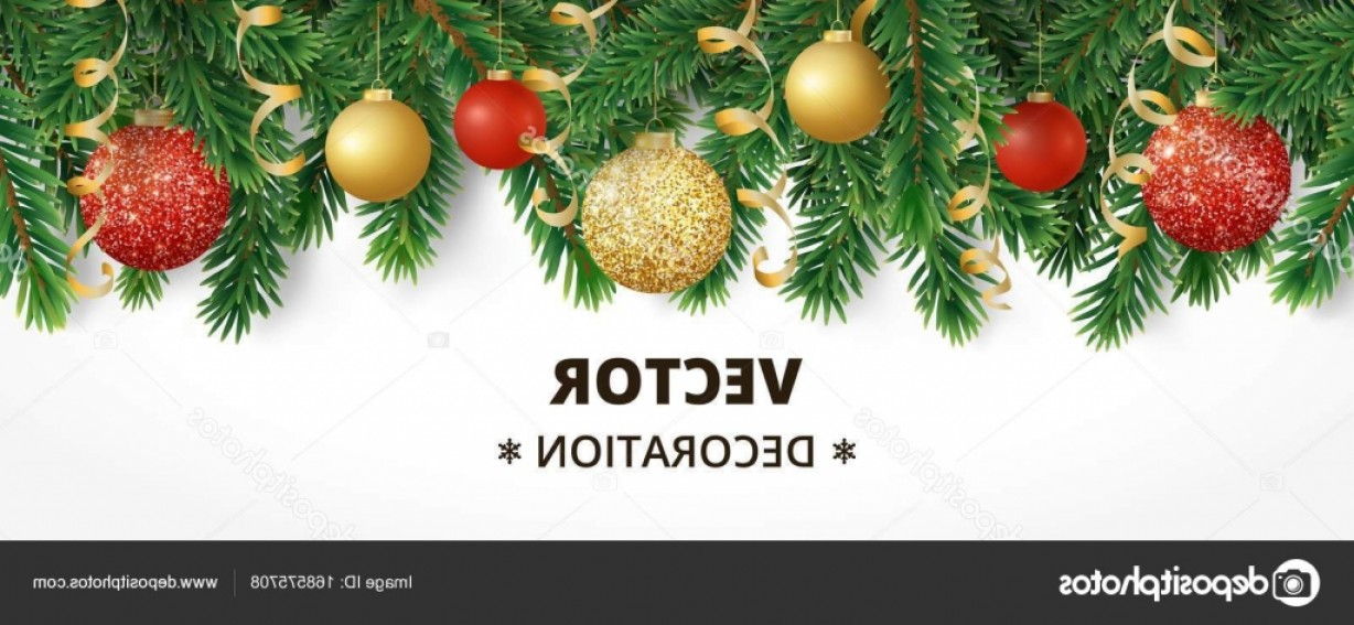 Christmas Horizontal Vector: Stock Illustration Horizontal Christmas Banner With Fir