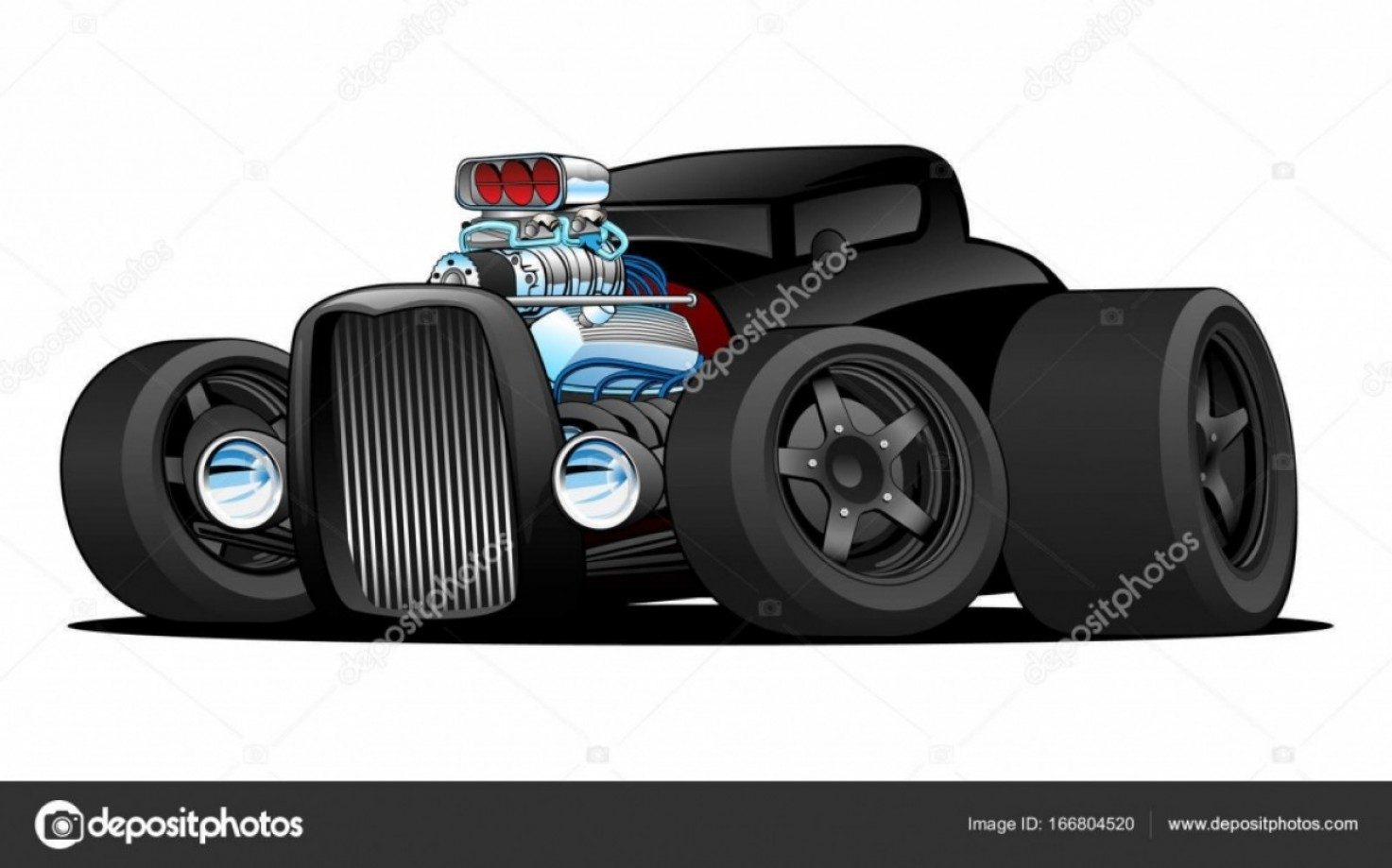 Classic Street Rod Vector Art: Stock Illustration Hot Rod Vintage Coupe Custom