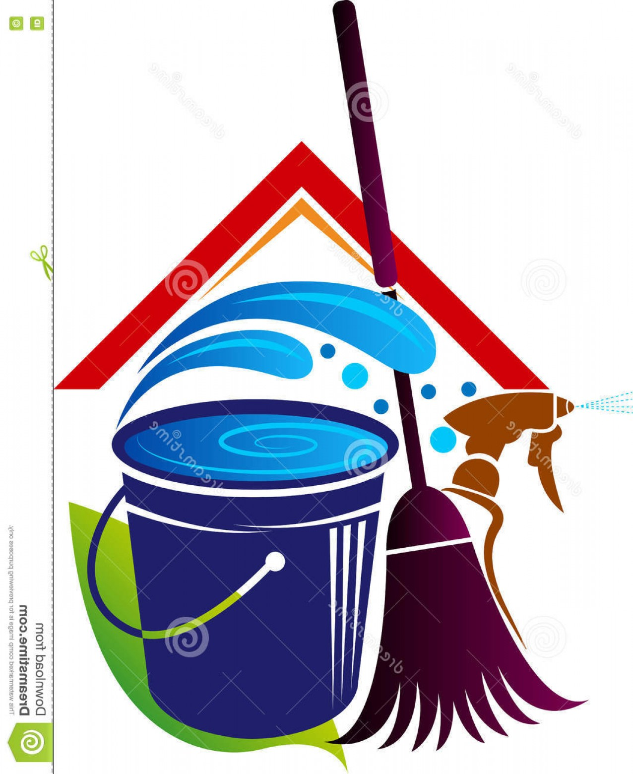 Cleaning Logo Vector Art: Stock Illustration House Cleaning Logo Illustration Art Isolated Background Image