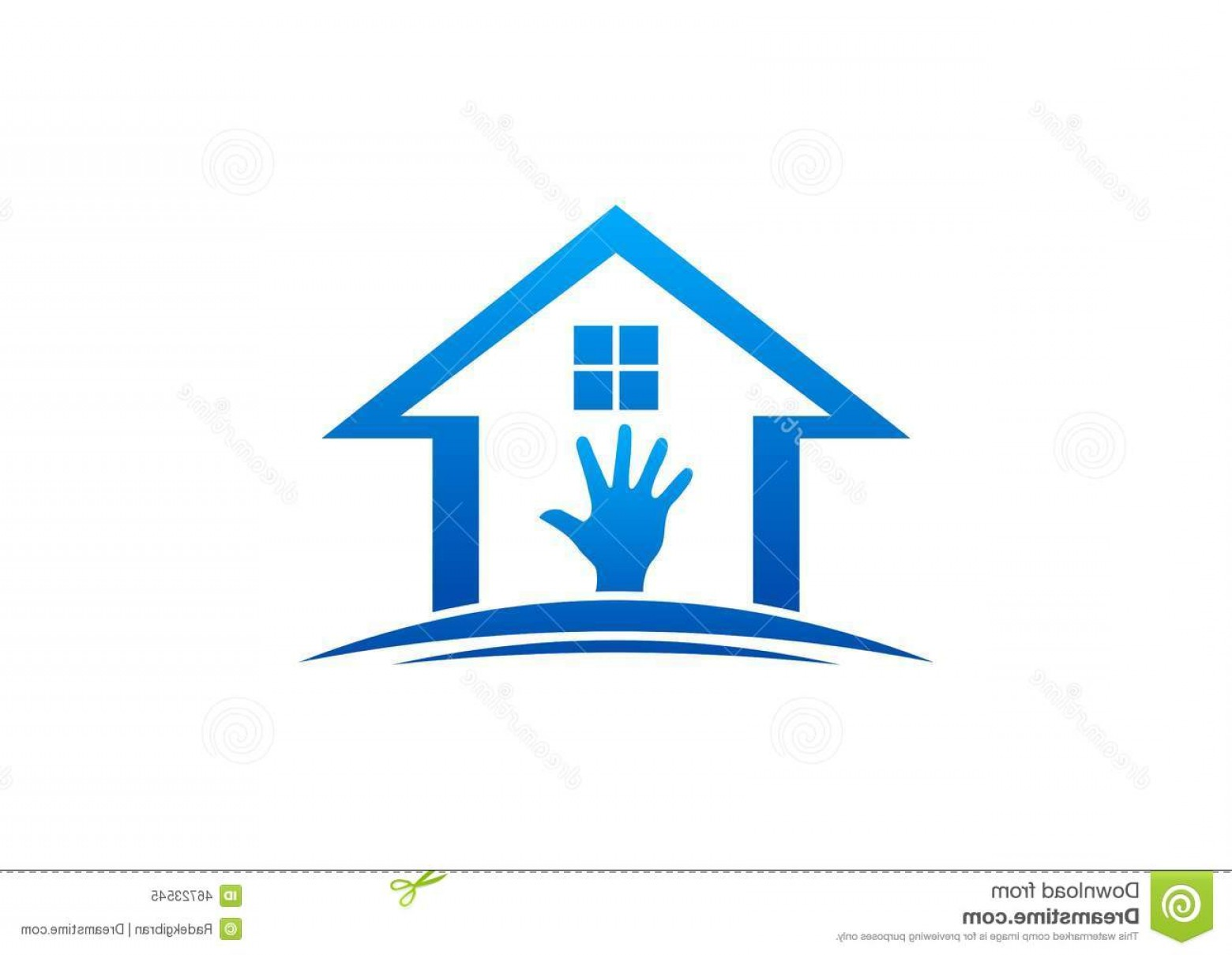 Home Logo Vector: Stock Illustration House Hand Logo Home Work Interior Exterior Home Care Furniture Design Vector Workdesign Image