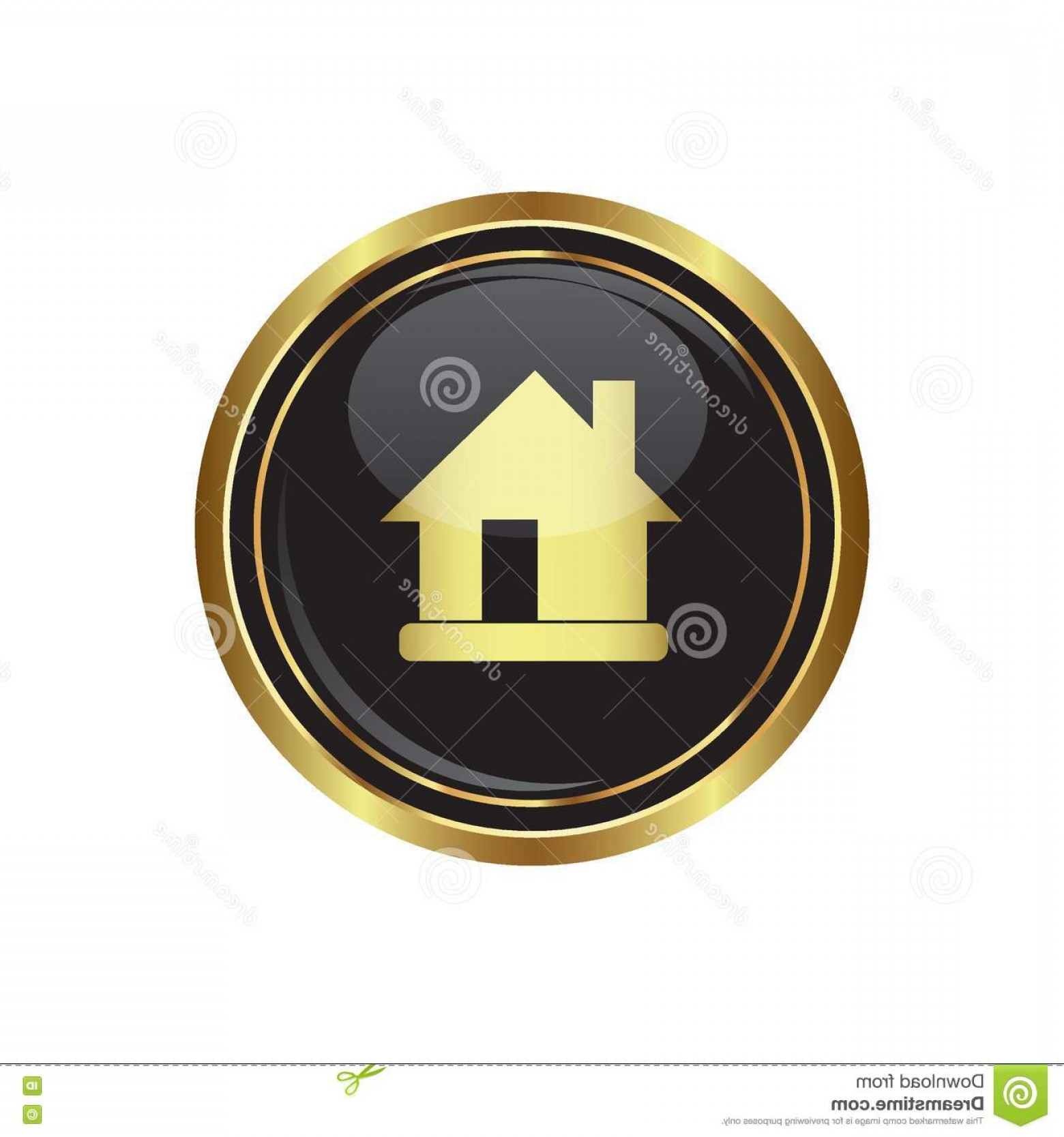 Gold Button Vector: Stock Illustration House Icon Black Gold Round Button Vector Illustration Image