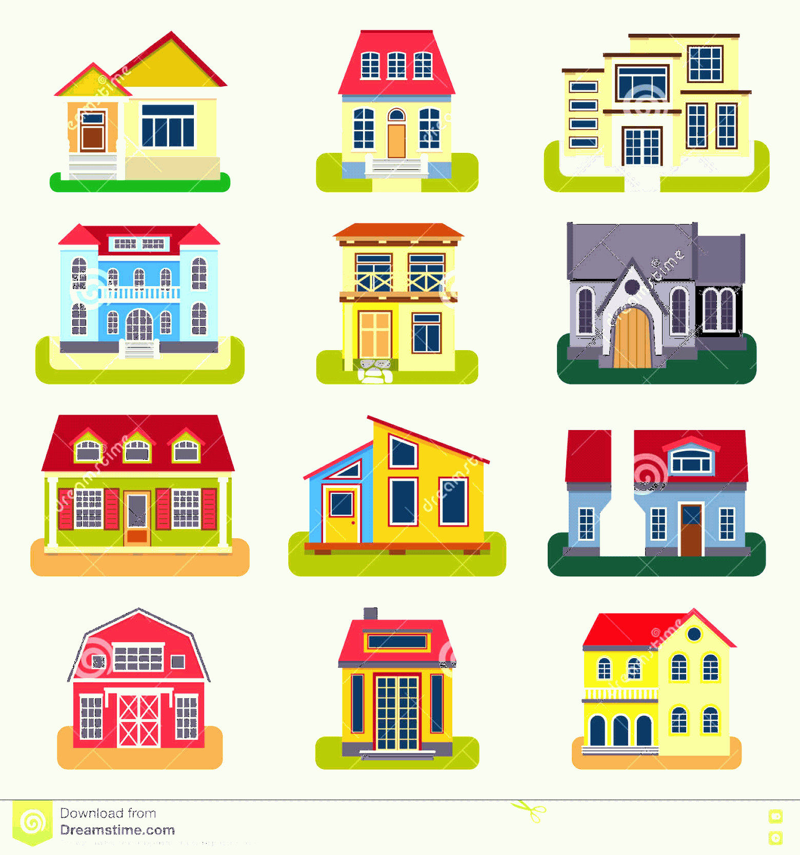 Flat Vector House: Stock Illustration Houses Front View Vector Illustration Flat Style Modern Constructions House Facade Building Architecture Home Image
