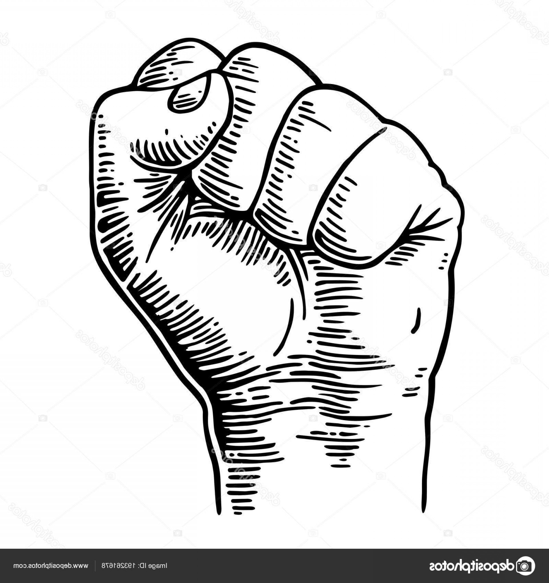 Black Power Fist Vector: Stock Illustration Human Hand With A Clenched