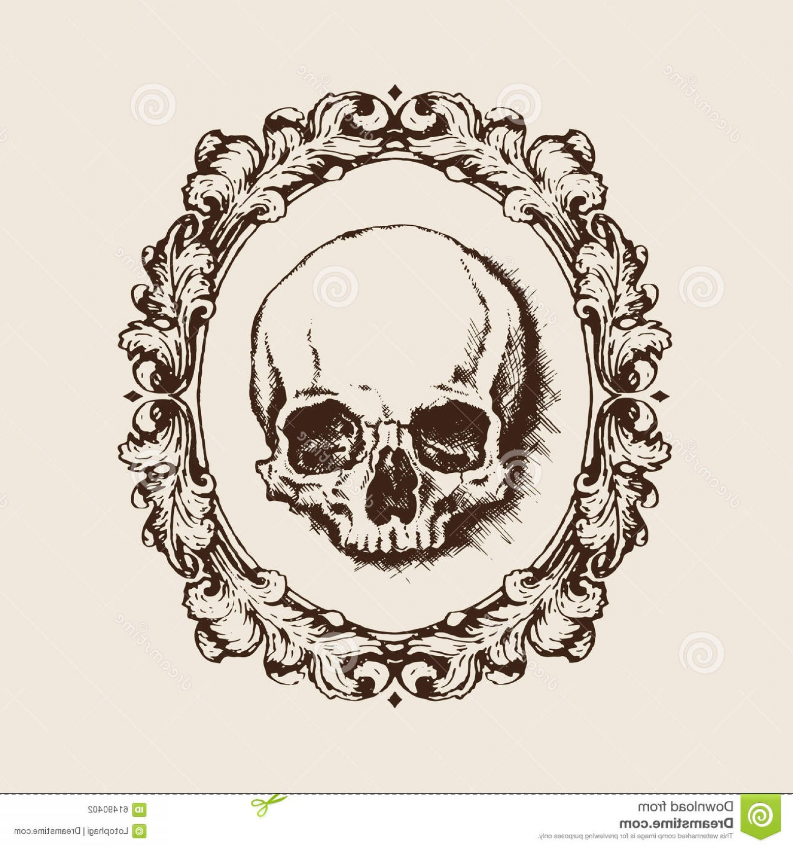 Filigree Oval Frame Vector: Stock Illustration Human Skull Filigree Frame Vector Illustration Hand Drawn Oval Image