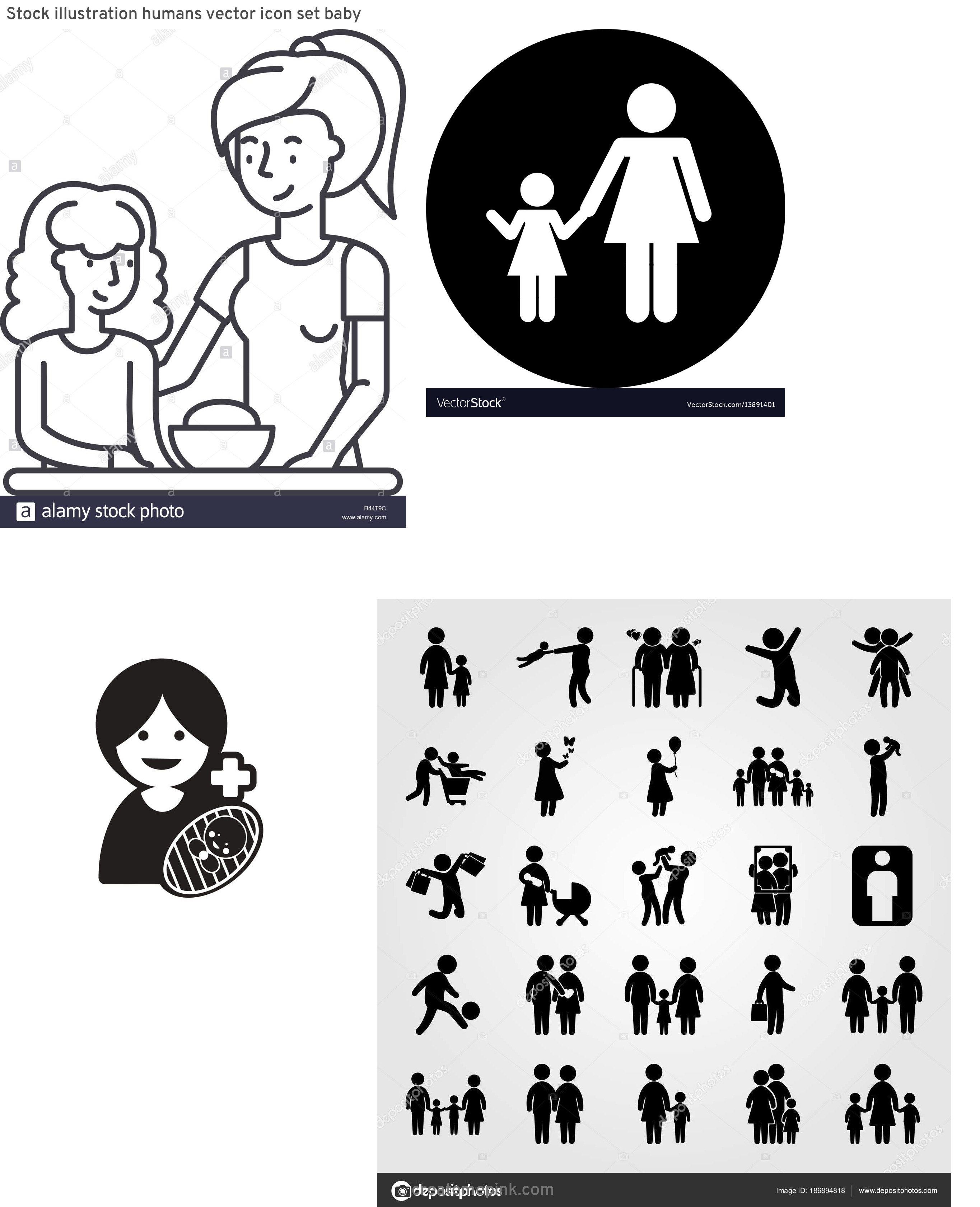 Daughter Vector Icons: Stock Illustration Humans Vector Icon Set Baby