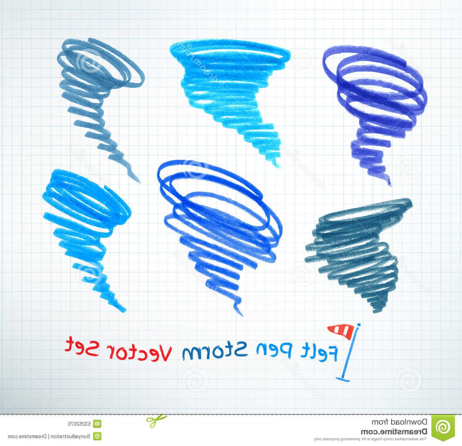 Hurricane Vector Art: Stock Illustration Hurricane Symbols Vector Set Hand Drawn Image