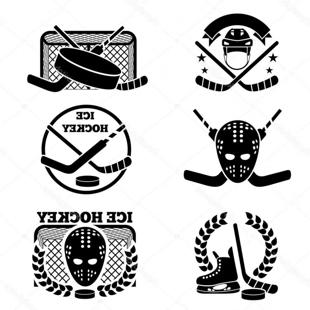 Hockey Teams Logo Vectors: Stock Illustration Ice Hockey Emblem And Logo