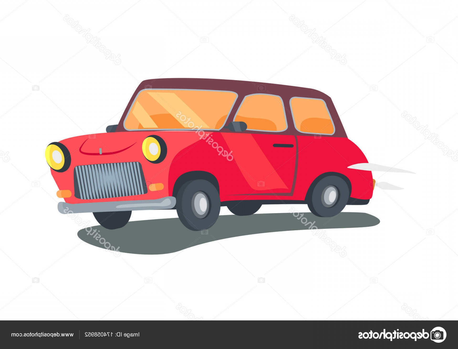 Vector Round Headlight: Stock Illustration Icon Of Red Retro Two