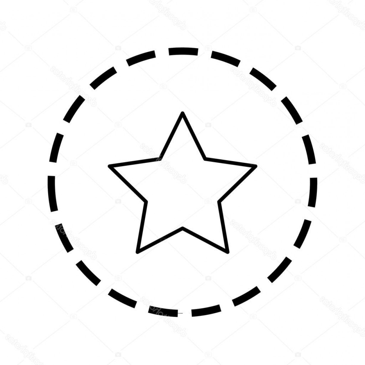 5 Point Star Vector Art: Stock Illustration Icon Outline Within A Dotted