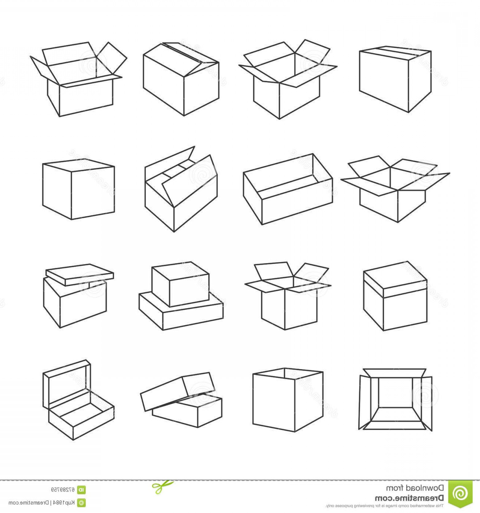 Box Outline Vector: Stock Illustration Icons Box Vector Illustration Set Outline Icon Thin Lines Image