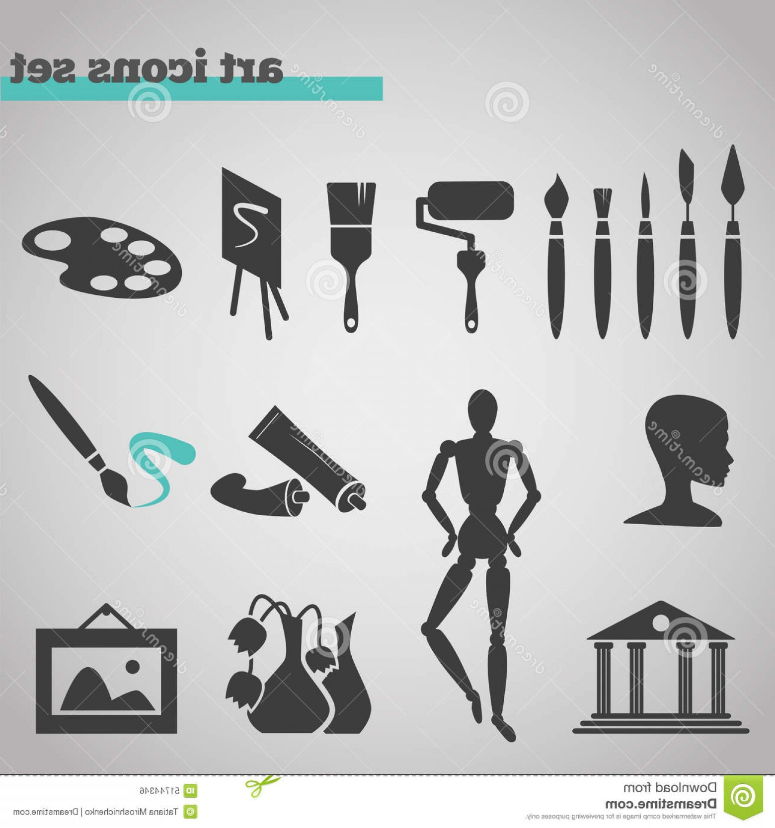 Supplies Vector Graphic: Stock Illustration Icons Set Art Supplies Painting Vector Illustration Instruments Drawing Sketching Isolated Grey Background Image