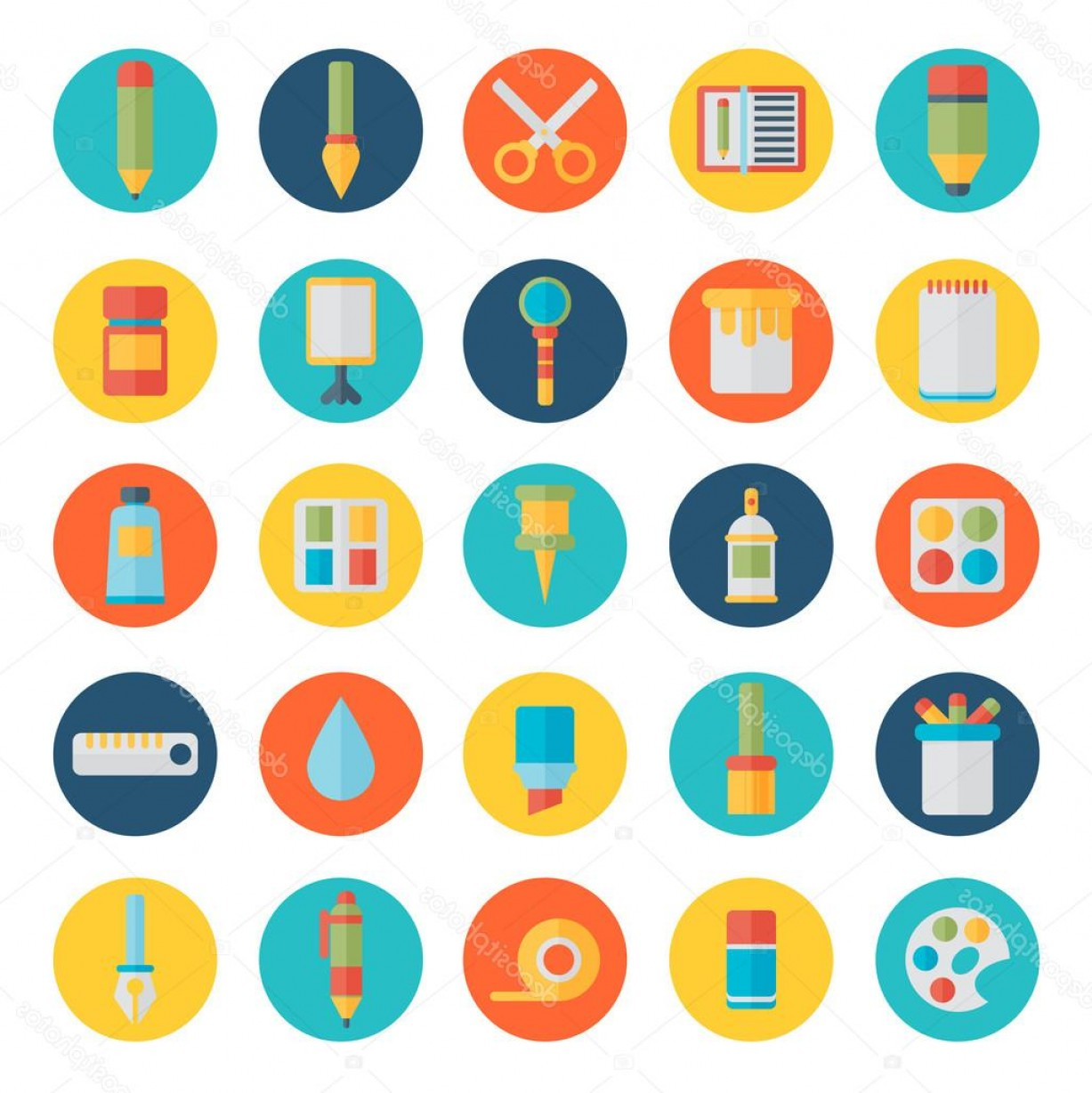 Supplies Vector Graphic: Stock Illustration Icons Set Of Art Supplies