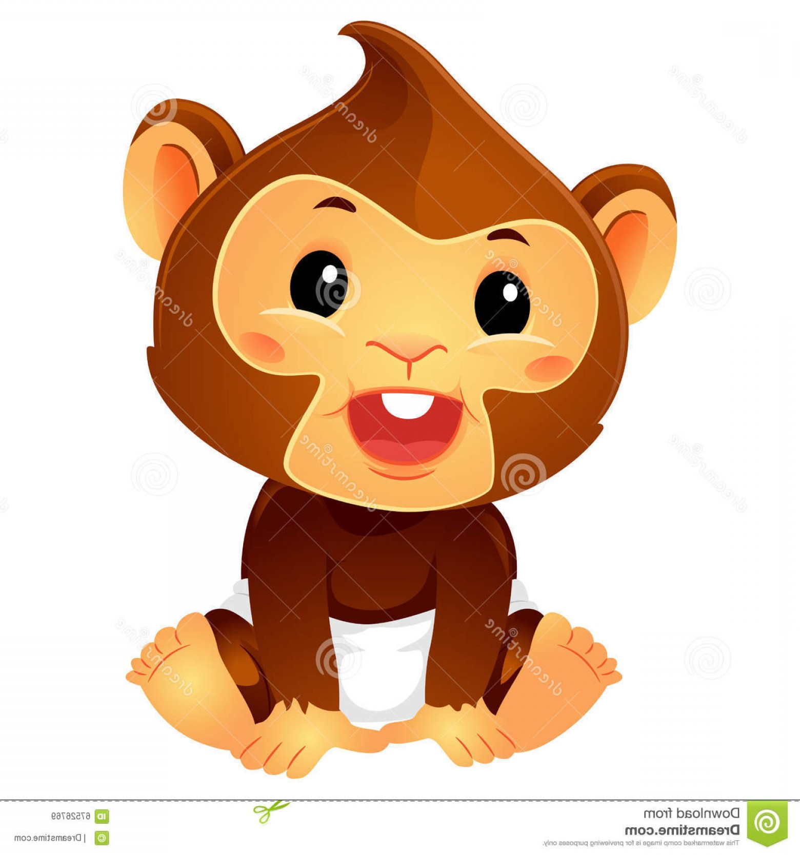 Sitting Monkey Vector Baby Shower: Stock Illustration Illustration Baby Monkey Wearing Diaper Vector Cartoon Sitting Position Image