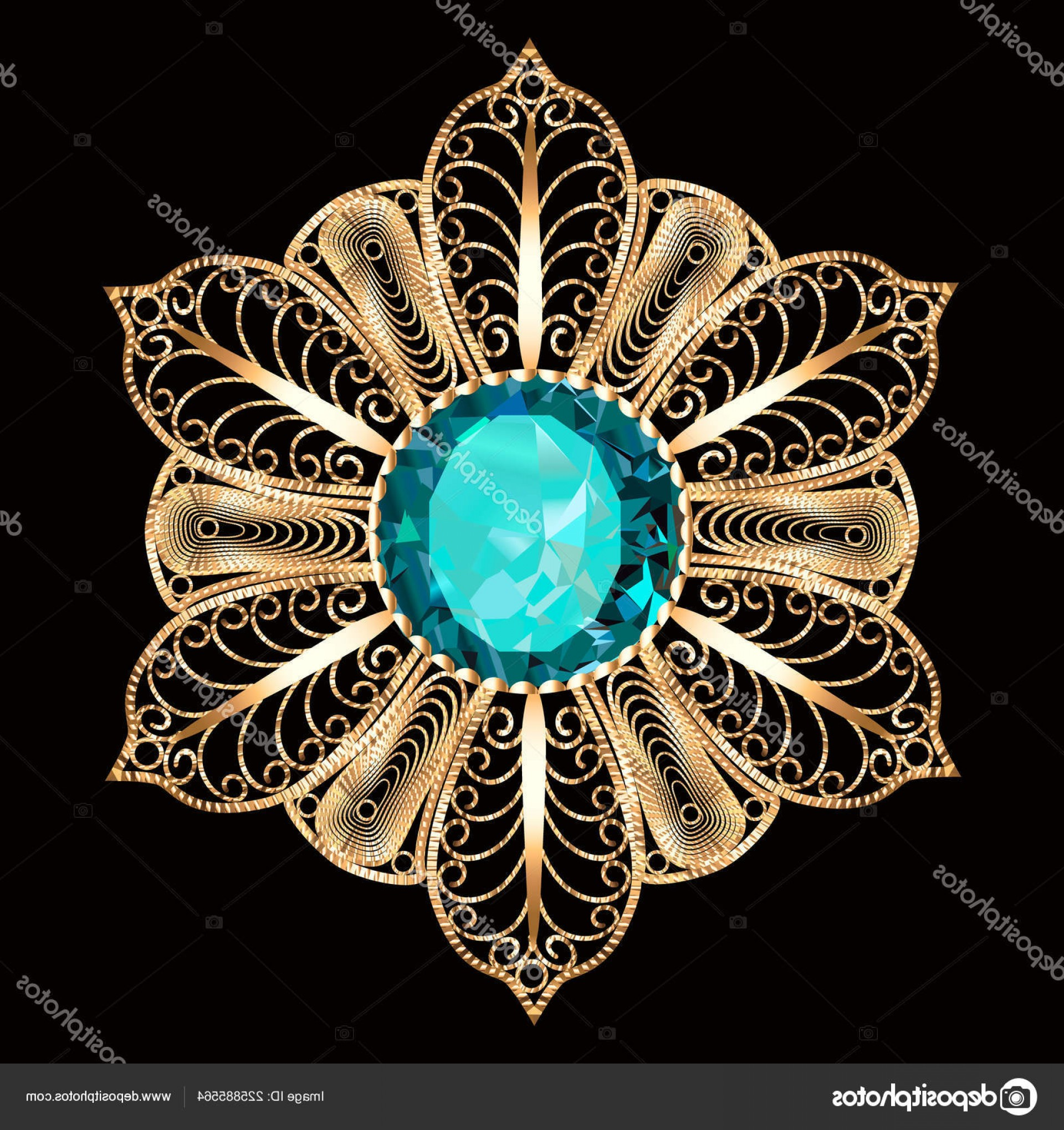 Aqua Victorian Medallions Vectors: Stock Illustration Illustration Brooch Pendant Precious Stones