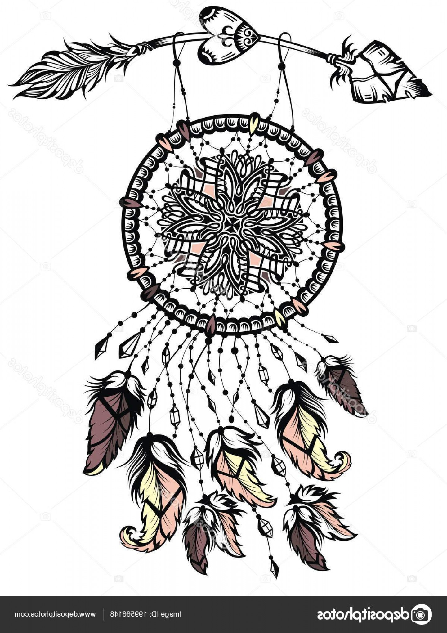 Dreamcatcher Tattoo Vector: Stock Illustration Illustration Dream Catcher Arrow Native