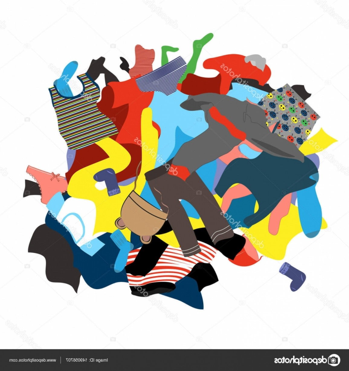 Clothes For Washing Vector: Stock Illustration Illustration Featuring A Messy Pile
