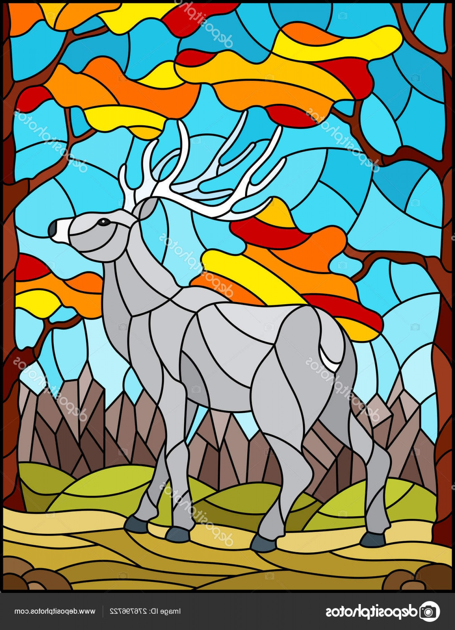 Amazing Window Vector: Stock Illustration Illustration In Stained Glass Style