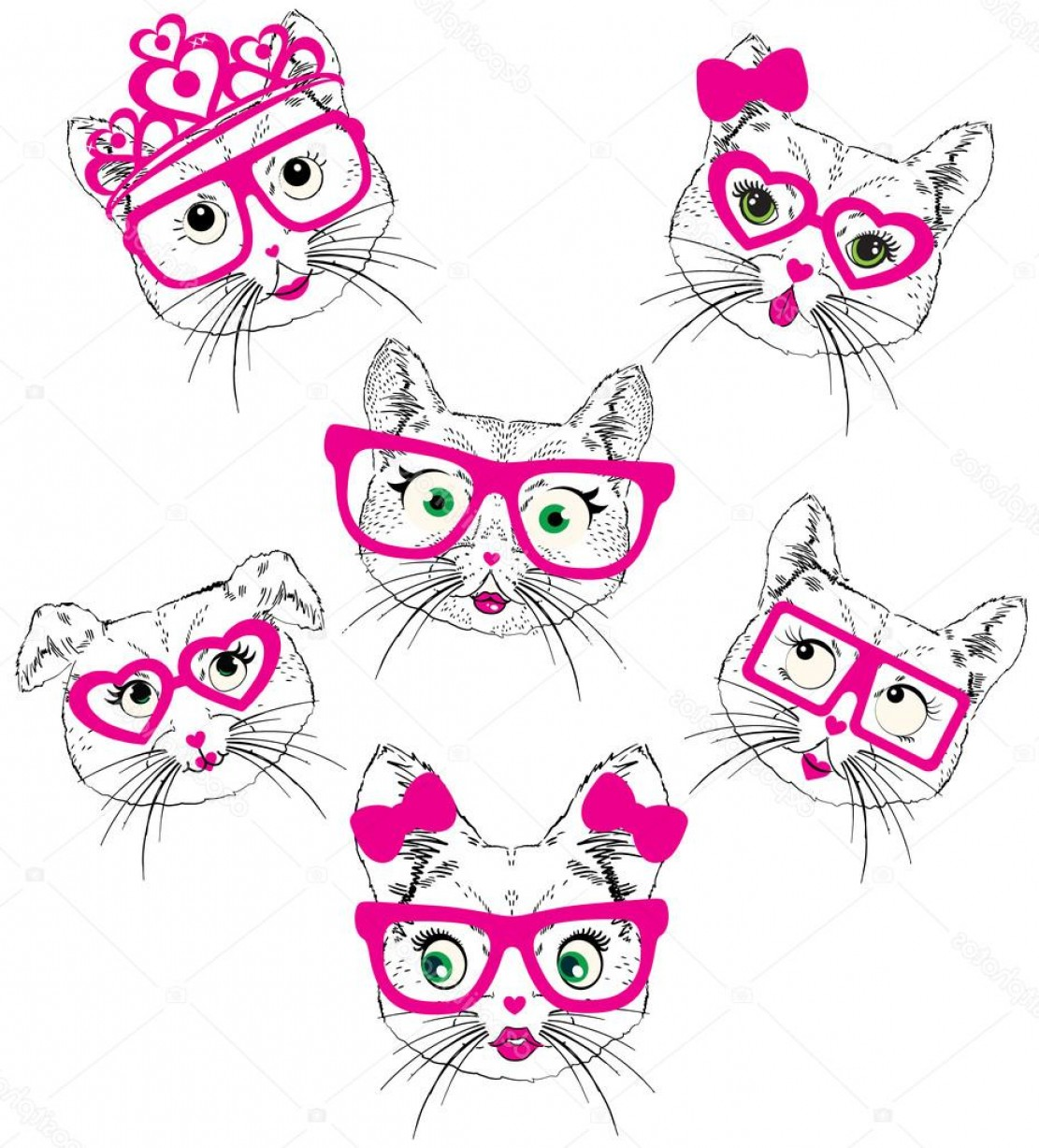 Vector Eyes At Ccute: Stock Illustration Illustration Of Cute Cats